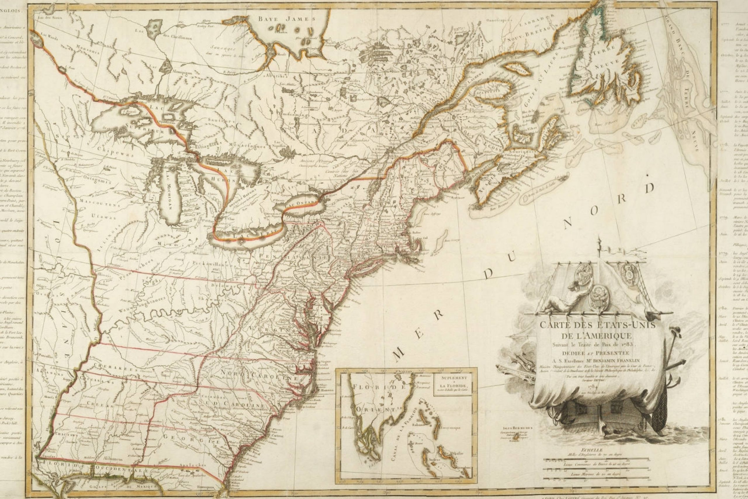 This 1784 map of the United States published in France is one of ten great Revolutionary War maps.