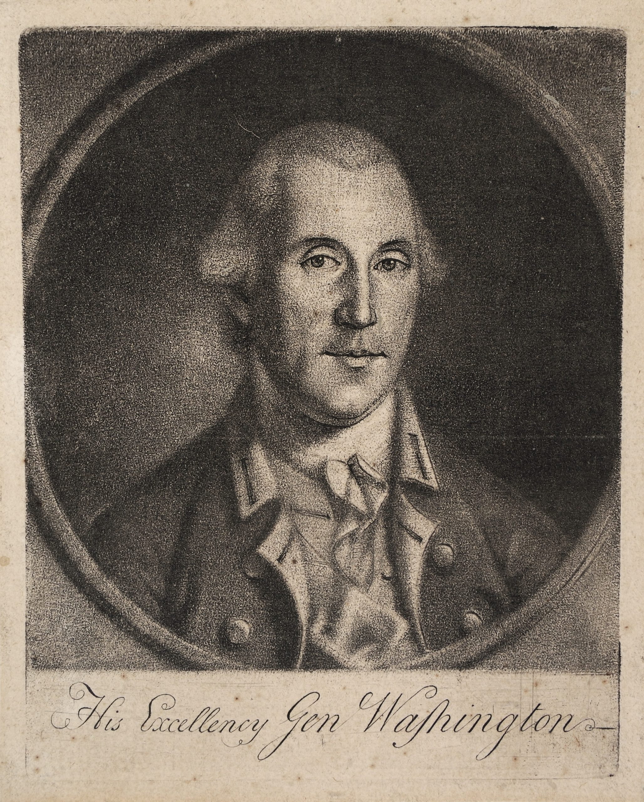 This engraving of George Washington by Charles Willson Peale is one of ten great Revolutionary War prints.