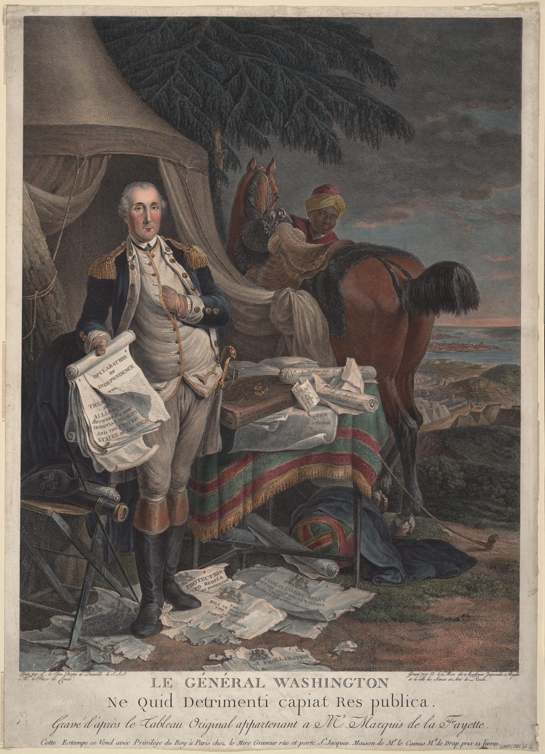 This engraving of George Washington is one of ten great Revolutionary War prints.