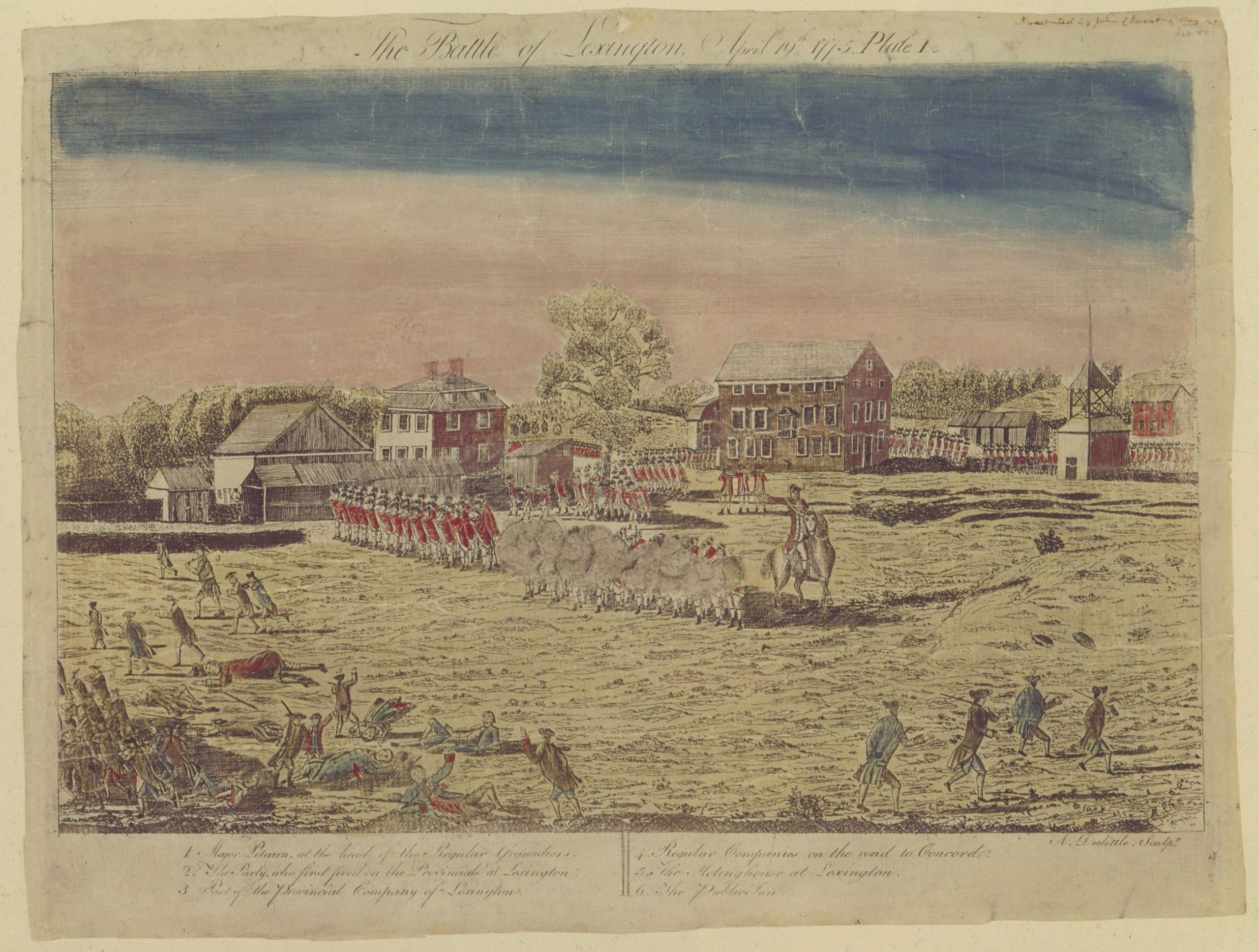 This engraving of the Battle of Lexington is one of ten great Revolutionary War prints.