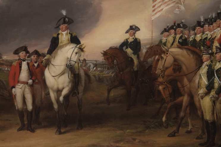 Benjamin Lincoln, the subject of the News feature, receives the sword of defeated British General Cornwallis in this painting by John Trumbull.