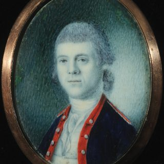 Watercolor portrait of William Henry Bruce in Revolutionary War military uniform, one of our masterpieces in detail