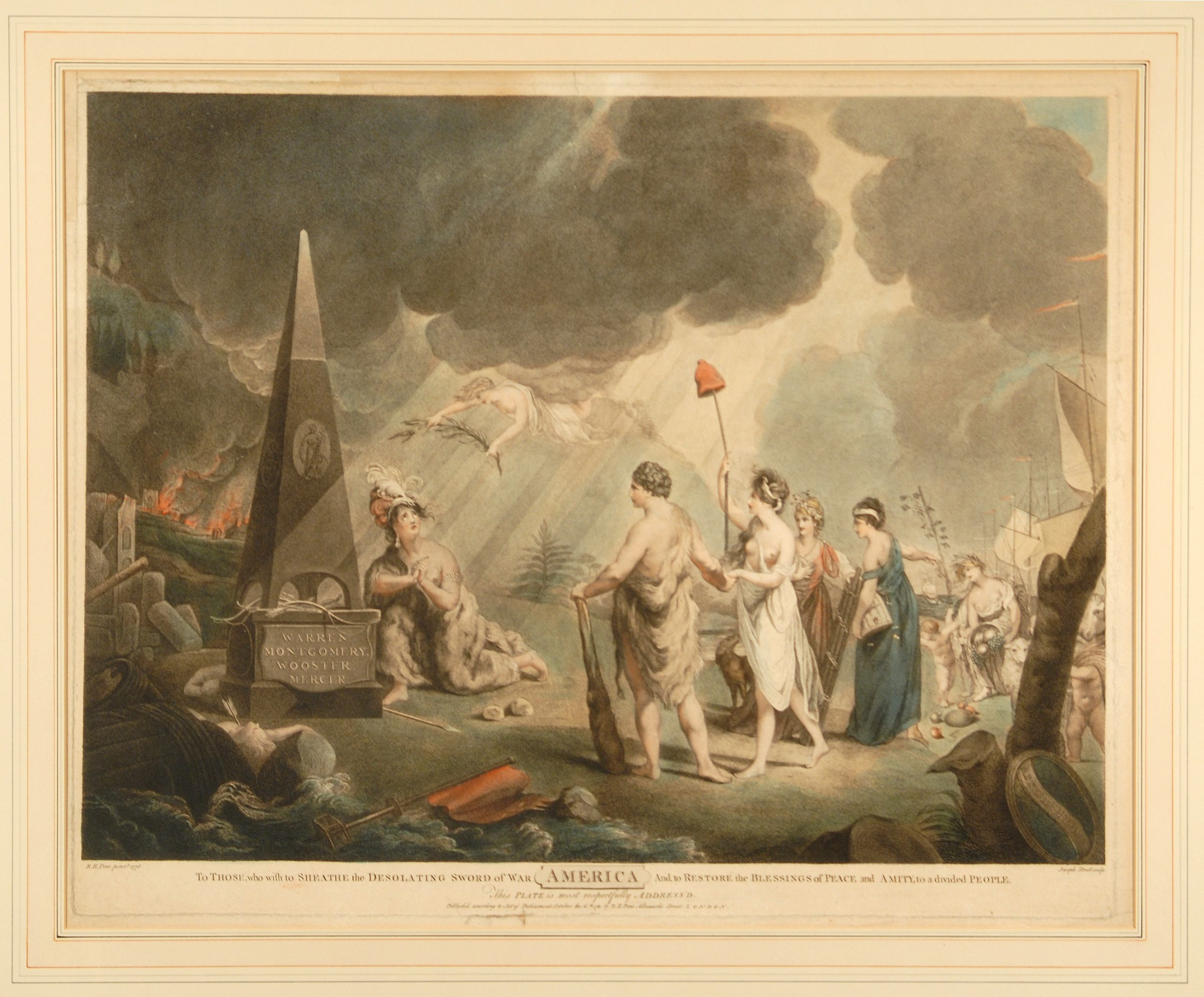 This allegorical print is one of ten great Revolutionary War prints.