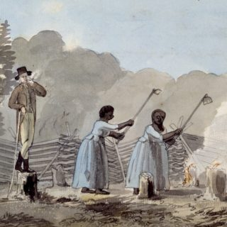 This watercolor of an overseer watching to enslaved women work symbolizes the difficult relationship between race and the achievements of the American Revolution.