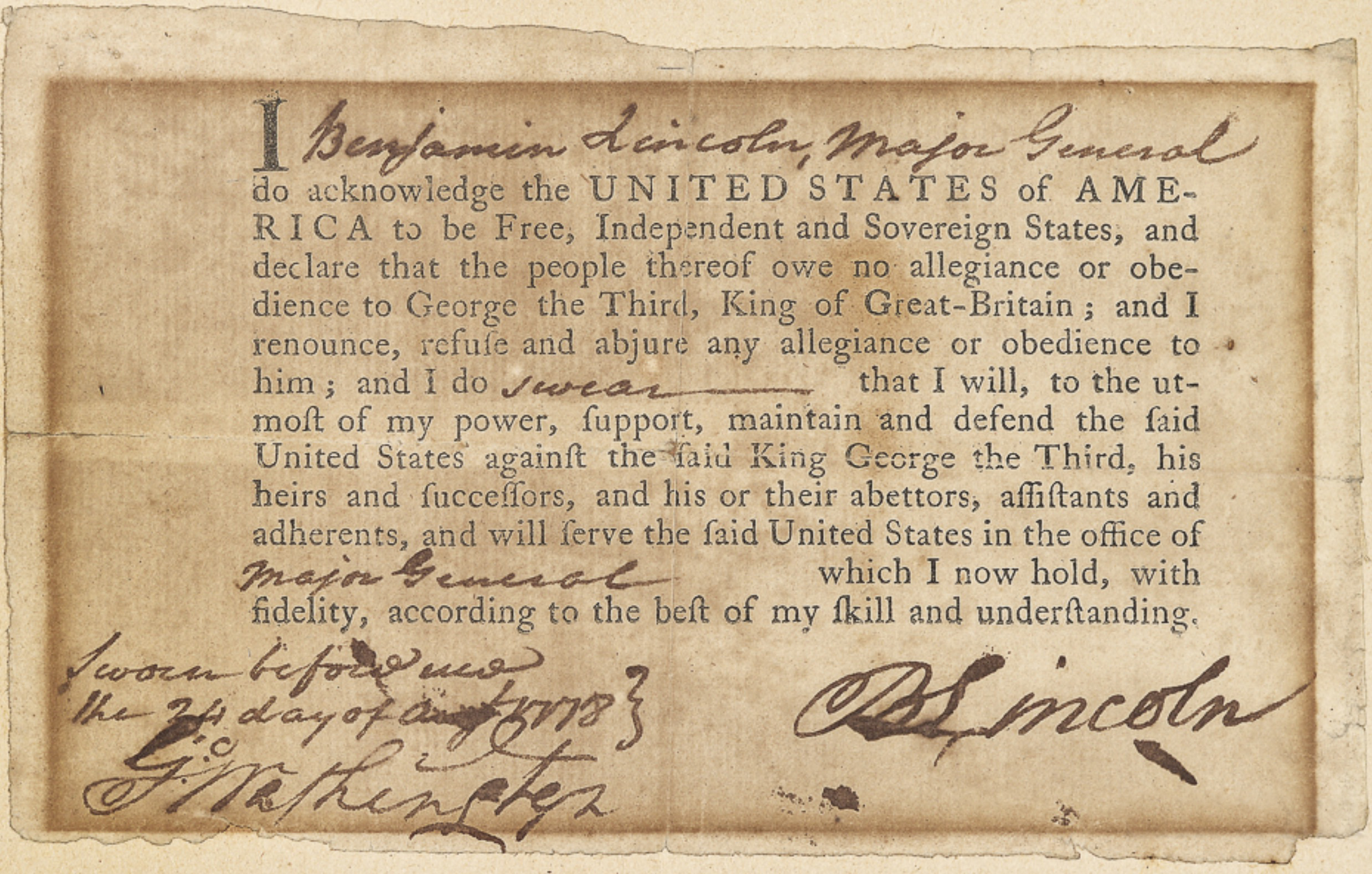 Benjamin Lincoln's Oath of Allegiance testified to his loyalty to the American cause.