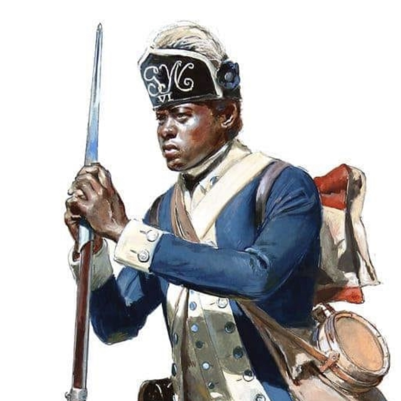 This scholarly modern depiction of a soldier of the Sixth Connecticut symbolizes the contribution of black soldiers to the achievements of the American Revolution.
