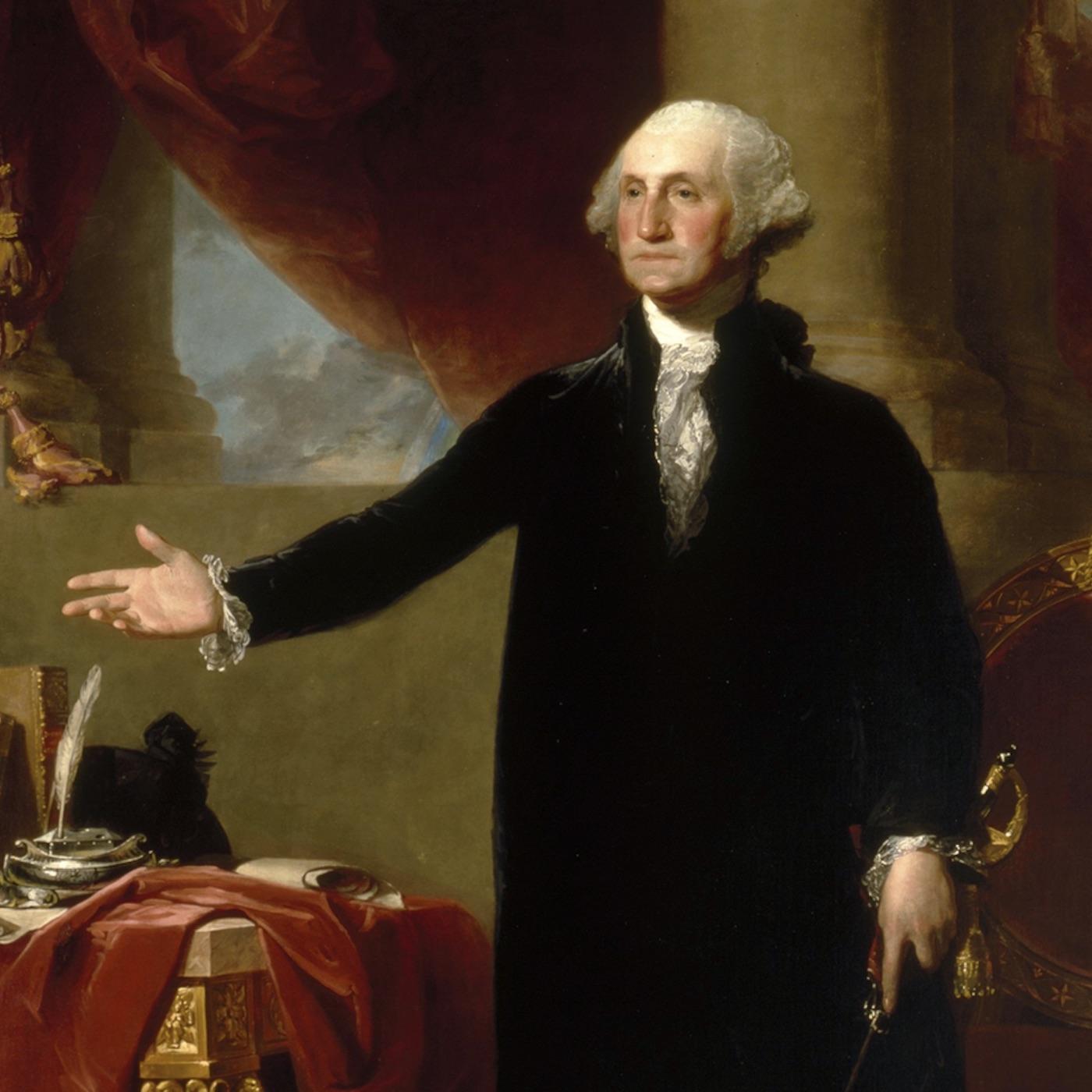 Gilbert Stuart's standing portrait of George Washington symbolizes Washington's role in the achievements of the American Revolution.