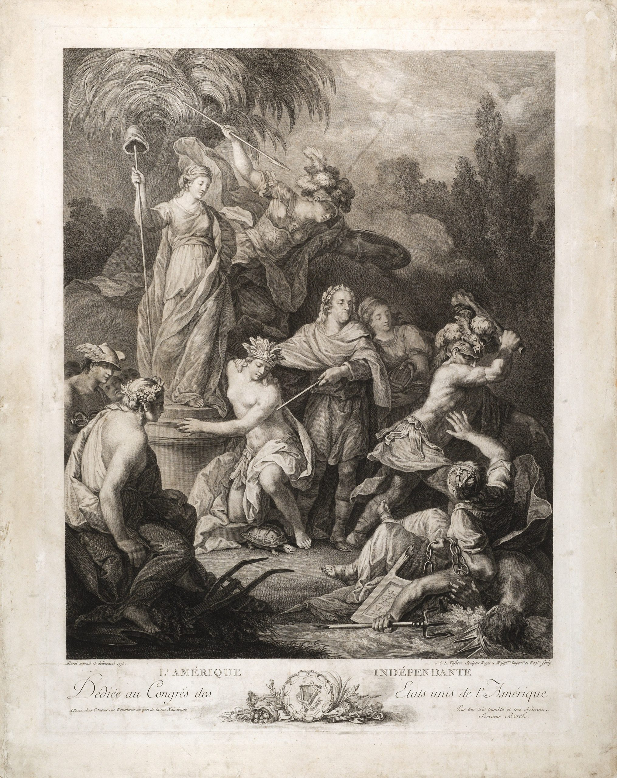 This allegorical print about American independence is one of ten great Revolutionary War prints.
