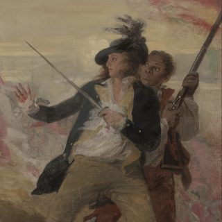 John Trumbull painted this oil sketch after his own depiction of the Battle of Bunker Hill. It symbolizes the contribution of black Americans to the achievements of the American Revolution.
