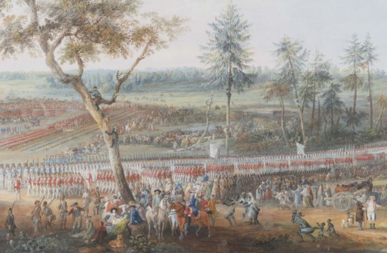 Painting of columns of British troops marching to the surrender field at Yorktown