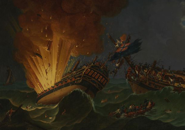 Revolutionary War painting of two ships in battle in rough seas, one exploding