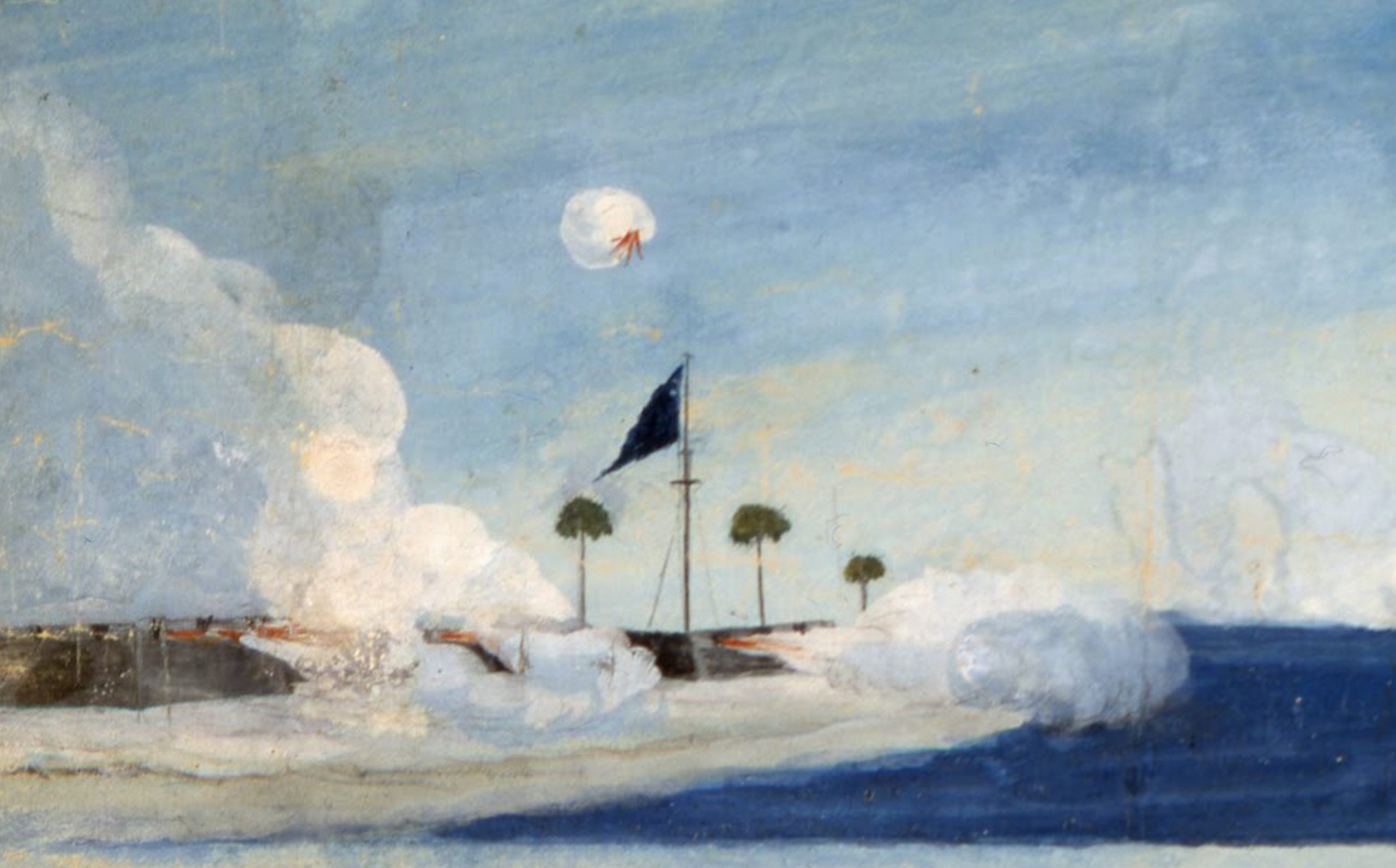 Painted scene of a fort on a coastline firing its cannons, with a flag flying and palm trees