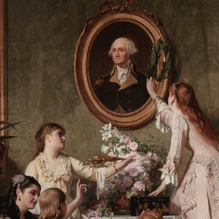 This painting of a family celebrating Washington's Birthday symbolizes the achievements of the American Revolution.