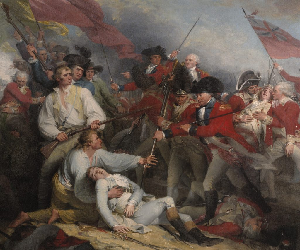 Colorful painting of a battle scene of the Revolutionary War with the death of Joseph Warren at the center