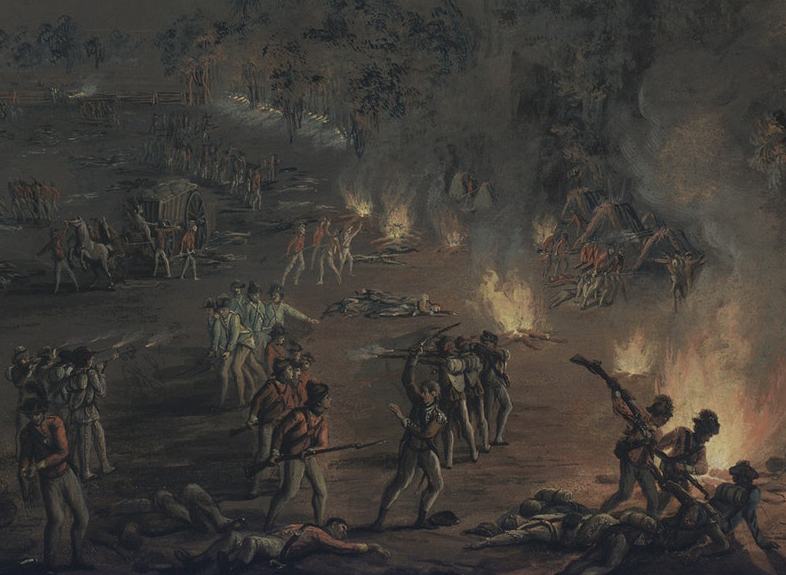 Painting of a nighttime attack on soldiers encamped in a field