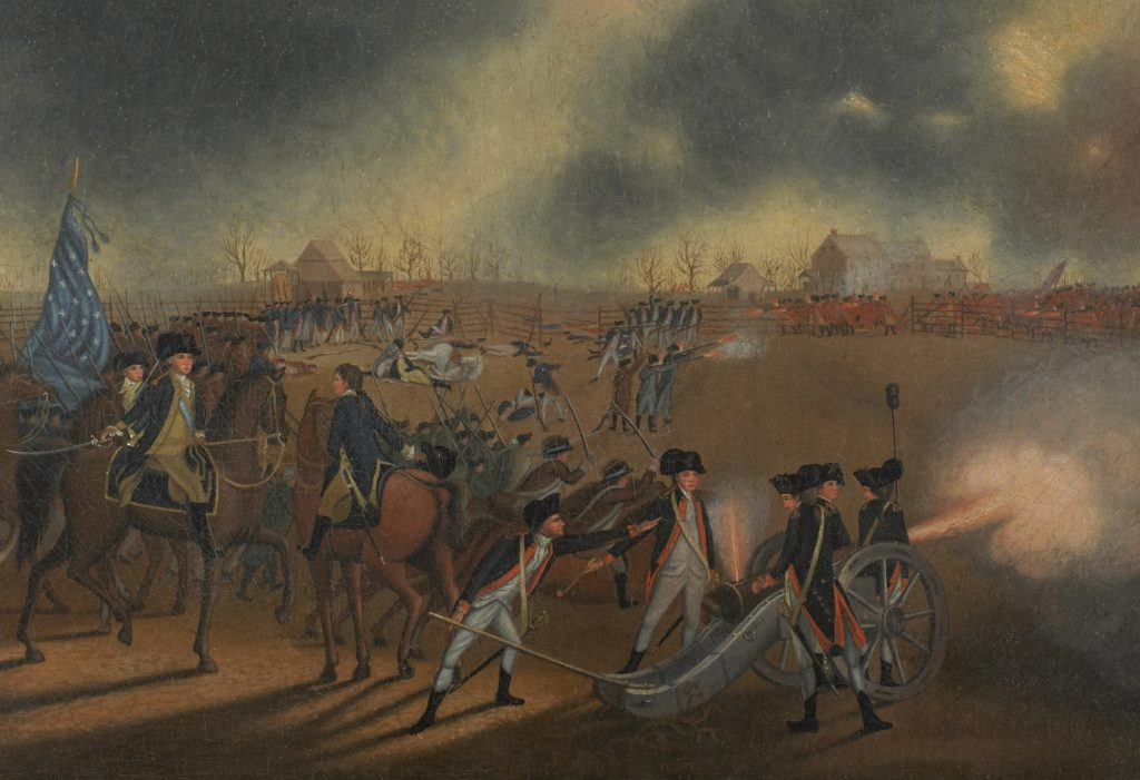 Painting of an artillery crew firing at the enemy in the distance and officers on horseback rallying troops to advance, in an open landscape with several buildings