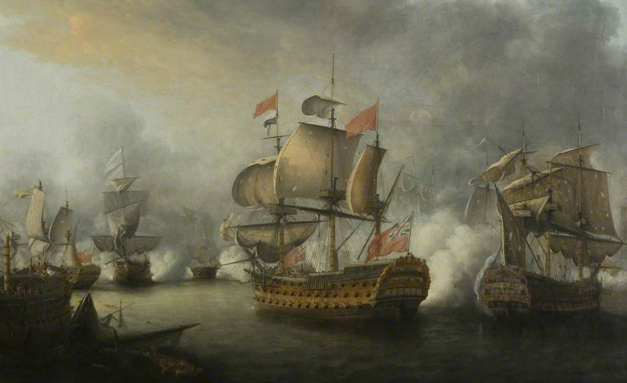 Revolutionary War painting of two ships engaging among a larger naval battle of the Saintes