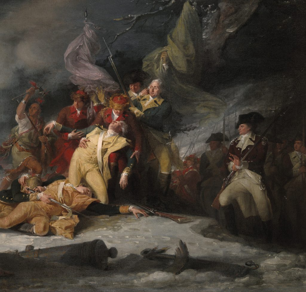 Painting of a wintry battle scene and death