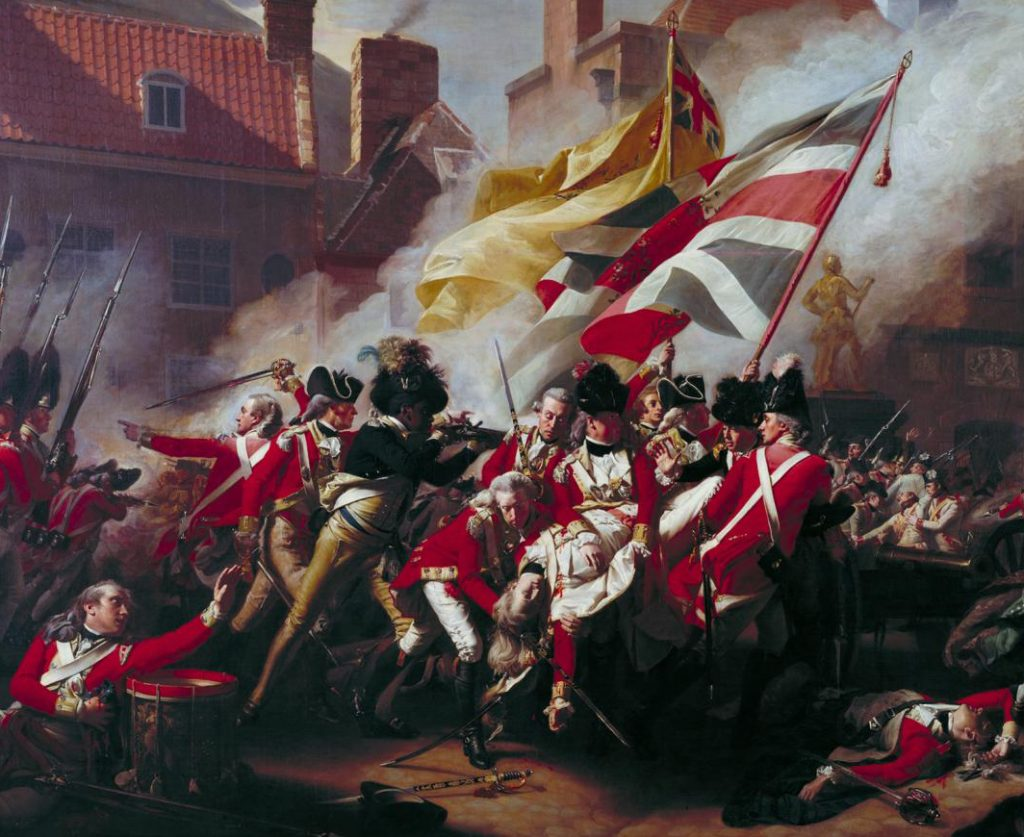 Painting of a Revolutionary War battle in an urban square, with Redcoats surrounding a fallen British officer and colorful flags and smoke overhead