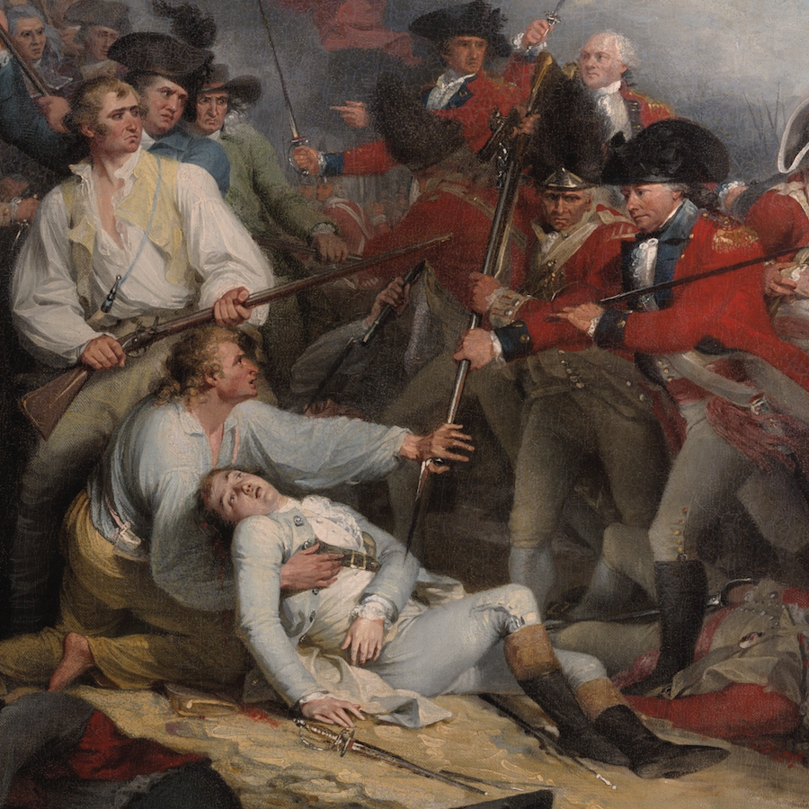 John Trumbull's depiction of the death of Joseph Warren at Bunker Hill is one of ten great Revolutionary War paintings.