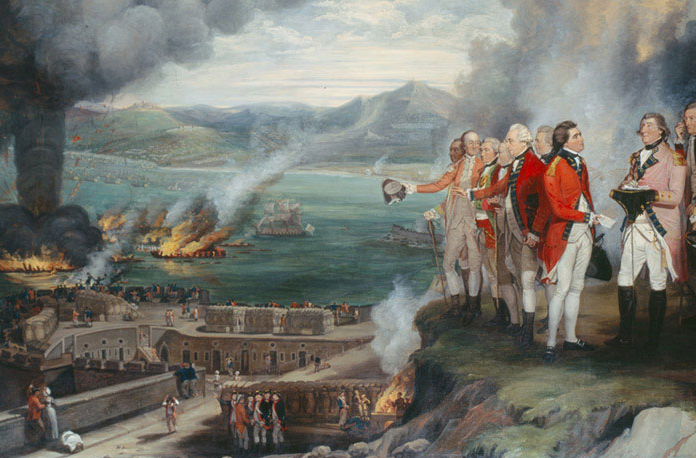 Painting of burning ships in a failed attack on Gibraltar during the Revolutionary War, with victorious British officers looking on