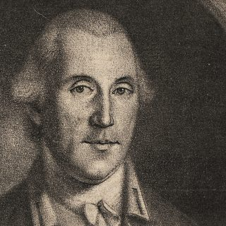 Black-and-white print of George Washington