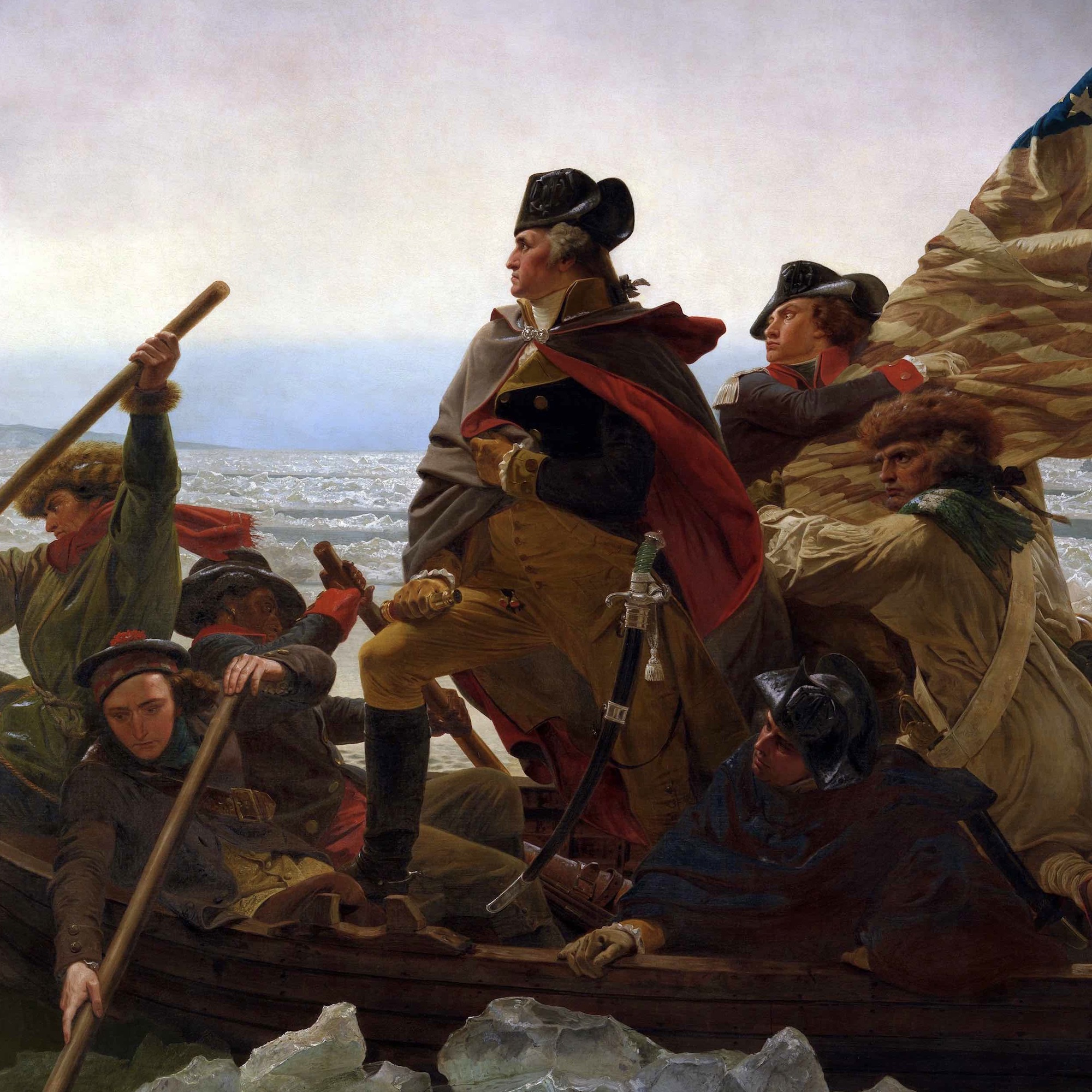 This detail from Washington Crossing the Delaware represents ten great American Revolution paintings among the treasures of the American Revolution.