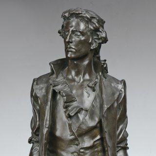 Bronze statue of Nathan Hale before being hanged as a spy during the American Revolution