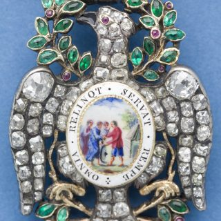 Detail of the Diamond Eagle insignia worn by the president general of the Society of the Cincinnati