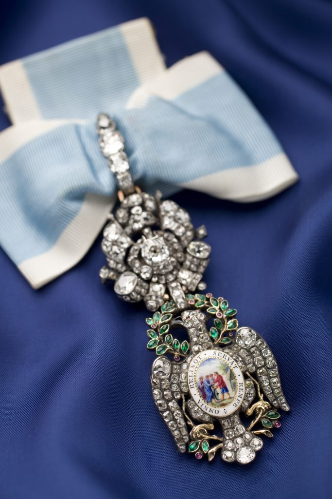 The Diamond Eagle insignia of the Society of the Cincinnati was first worn by George Washington.
