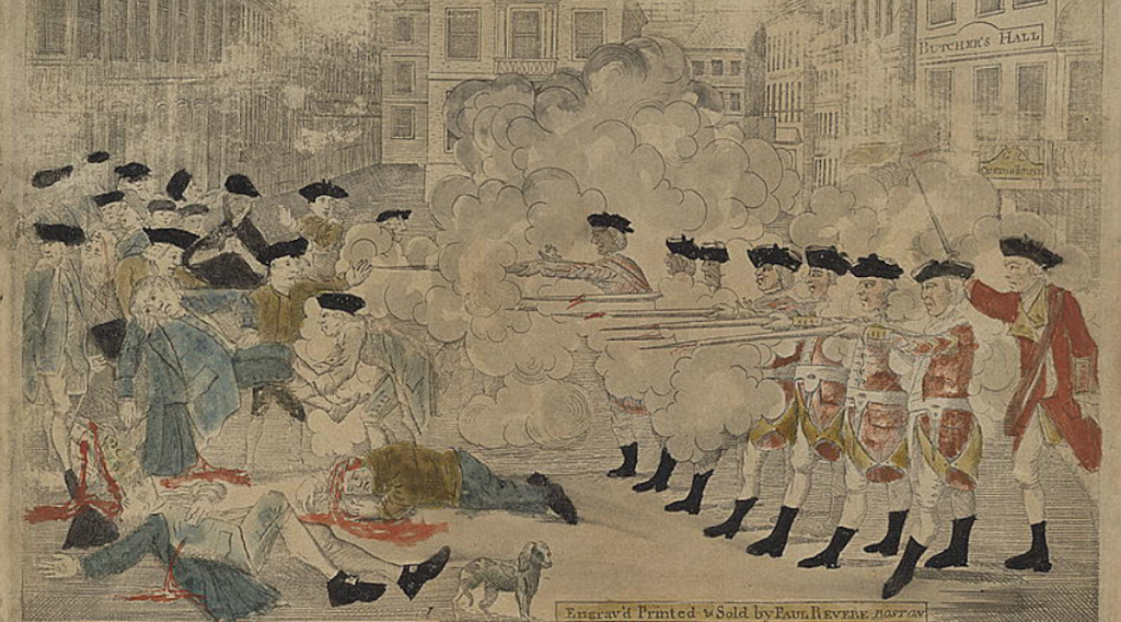"Cropped engraving of ""The Bloody Massacre,"" now known as the ""The Boston Massacre"" in March of 1770."
