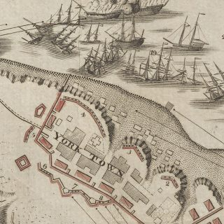 Detail of Sebastian Bauman's map showing ships off the coast of Yorktown, Virginia, in 1781