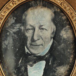 Detail of a black-and-white daguerreotype portrait of Revolutionary War surgeon John Richard Watrous
