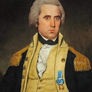 Oil portrait of an American army officer after conservation