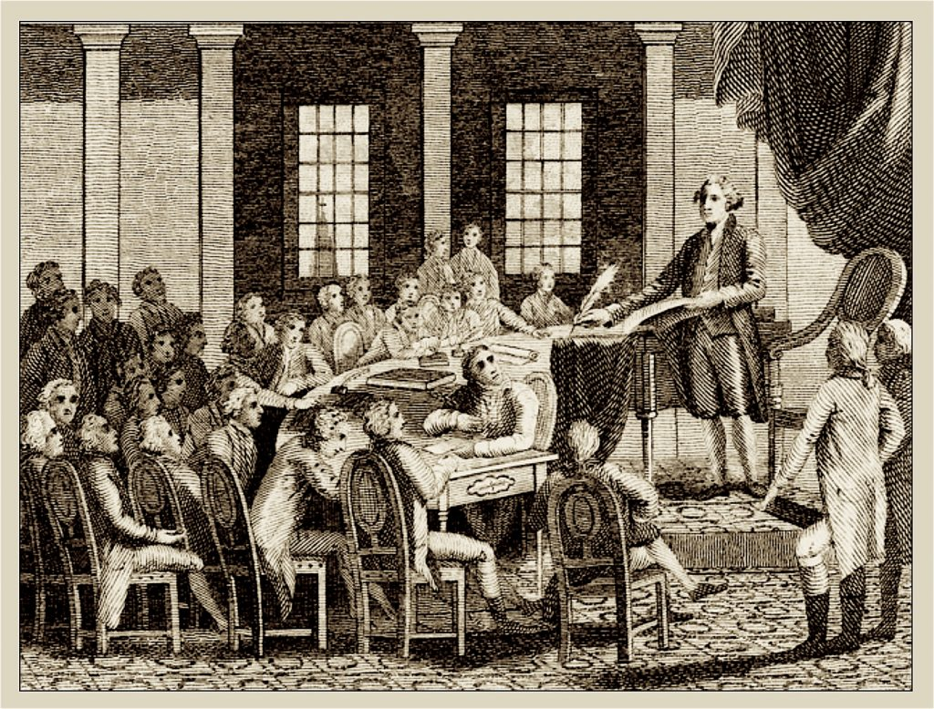 The moral sense philiosophy was important to the establishment of popular sovereignty as the foundation of the Constitution proposed by the Federal Convention of 1787, depicted in this print in 1823.