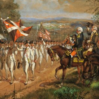 Recent acquisition of a painting of George Washington reviewing French troops during the Revolutionary War